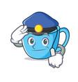 police tea cup character cartoon vector image