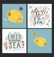 sea cards set with handdrawn sea animals vector image vector image