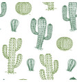 seamless pattern with cactus hand drawn desert vector image vector image