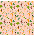 Seamless pattern with dancing ladyes