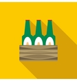 Set of beer bottles icon flat style vector image
