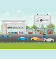 set of car service station vector image
