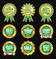 Set of excellent quality green badges with gold