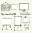 set of hand drawn office equipment in eco style vector image vector image