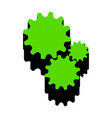 settings sign green 3d icon vector image vector image