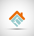 silhouette a house with a wrench and a hammer vector image vector image