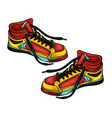 sneakers red-yellow vector image vector image