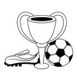 soccer sport game cartoons isolated in black and vector image vector image