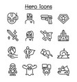 super hero icon set in thin line style vector image vector image