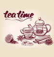 tea time cup tea and teapot isolated on vintage vector image
