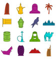 uae travel icons doodle set vector image vector image