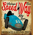 vintage race car for printing old school race vector image vector image