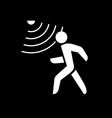 Walking man silhouette with motion sensor White on vector image vector image