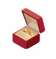wedding ring in a box isometric icon vector image vector image