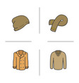 winter clothes color icons set vector image vector image