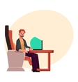 Young unshaved man working on laptop in business vector image vector image