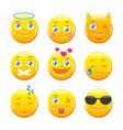 cute cartoon emoticons emoji icons set vector image
