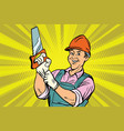 construction worker with saw vector image