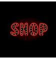 Light neon shop label vector image