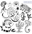 set of outlined sea creatures vector image