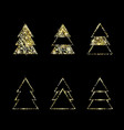 a set geometric christmas trees gold glitter vector image