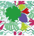 abstract color flowers leaves zigzag background vector image vector image