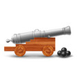ancient ship cannon with cannonballs vector image