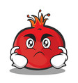 angry face pomegranate cartoon character style vector image vector image