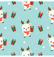 arctic reindeer and gift box christmas seamless vector image vector image