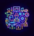 auto repair neon concept vector image