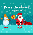 banner merry christmas santa claus gives a gift vector image