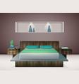 bedroom interior realistic vector image