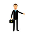 businessman cartoon character in black suit vector image vector image