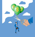 businessman flying balloon and hand with scissors vector image