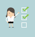 businesswoman with important checklist vector image vector image