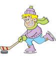 Cartoon boy playing hockey vector image vector image