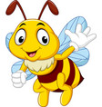 cartoon happy bee waving hand vector image