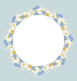 chamomile and forget-me-not flowers frame on vector image vector image