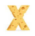 cheese font x letter on white vector image vector image