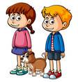 children with cute puppy vector image