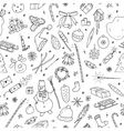 christmas seamless pattern in doodle stylehand vector image