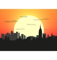 City skyline at sunset vector image