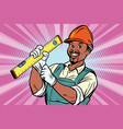 construction worker with level vector image vector image