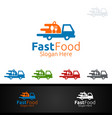 courier fast food logo for restaurant or cafe vector image vector image