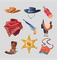 cowboy or western sheriff accessorises isolated on vector image