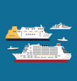 cruise passenger liners set isolated on blue vector image vector image
