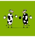 Cute cows with buckets of milk sketch vector image