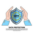 data safety shield protects palms over general vector image vector image