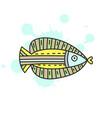 doodle fish on color splash vector image vector image