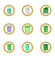eco garbage icon set cartoon style vector image vector image